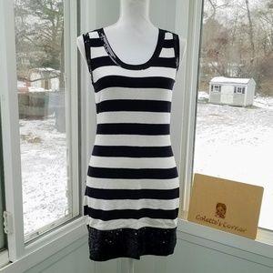 Striped Sequins Trimmed Mini Dress/Tunic